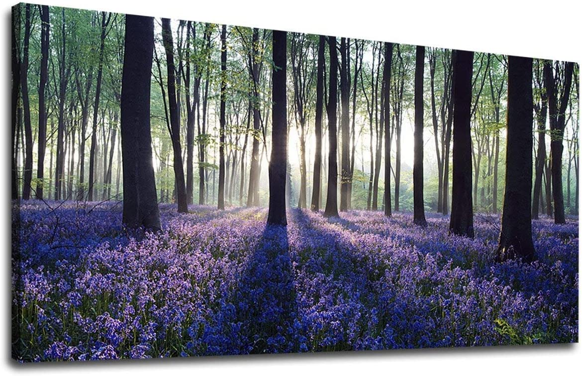 "yearainn Canvas Wall Art Forest with Purple Lavender Large Green Trees Scenery Picture Prints Modern Canvas Artwork Contemporary Nature Artwork for Home Office Wall Decor 20"" x 40"""