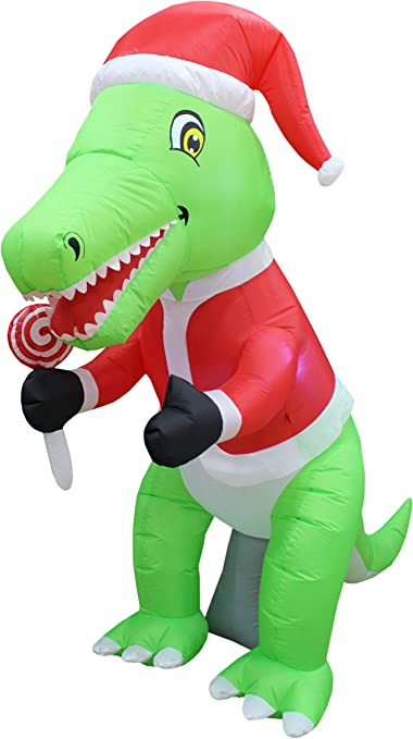 6 Foot Tall Christmas Inflatable Green Dinosaur with Christmas Hat and Lollipop LED Lights Decor Outdoor Indoor Holiday Decorations, Blow up Lighted ...
