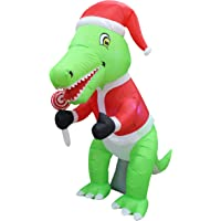 6 Foot Tall Christmas Inflatable Green Dinosaur with Christmas Hat and Lollipop LED Lights Decor Outdoor Indoor Holiday Decorations, Blow up Lighted Yard Decor, Lawn Inflatables Home Family Outside