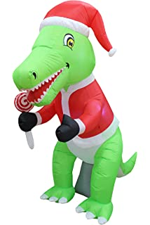 6 foot tall christmas inflatable green dinosaur with christmas hat and lollipop led lights decor outdoor - Dinosaur Christmas Decorations
