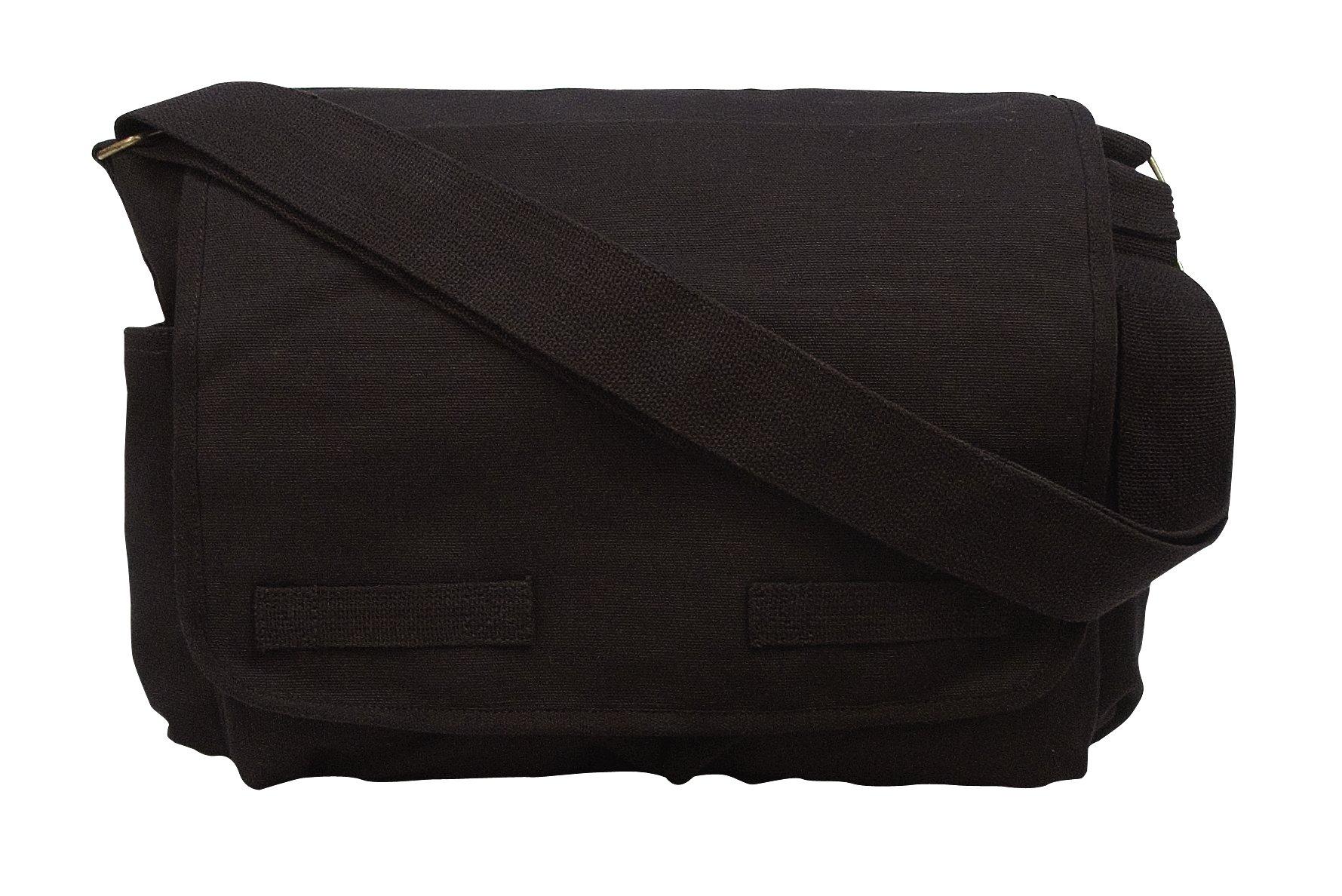 Rothco Hw Canvas Classic Messenger Bag, Black