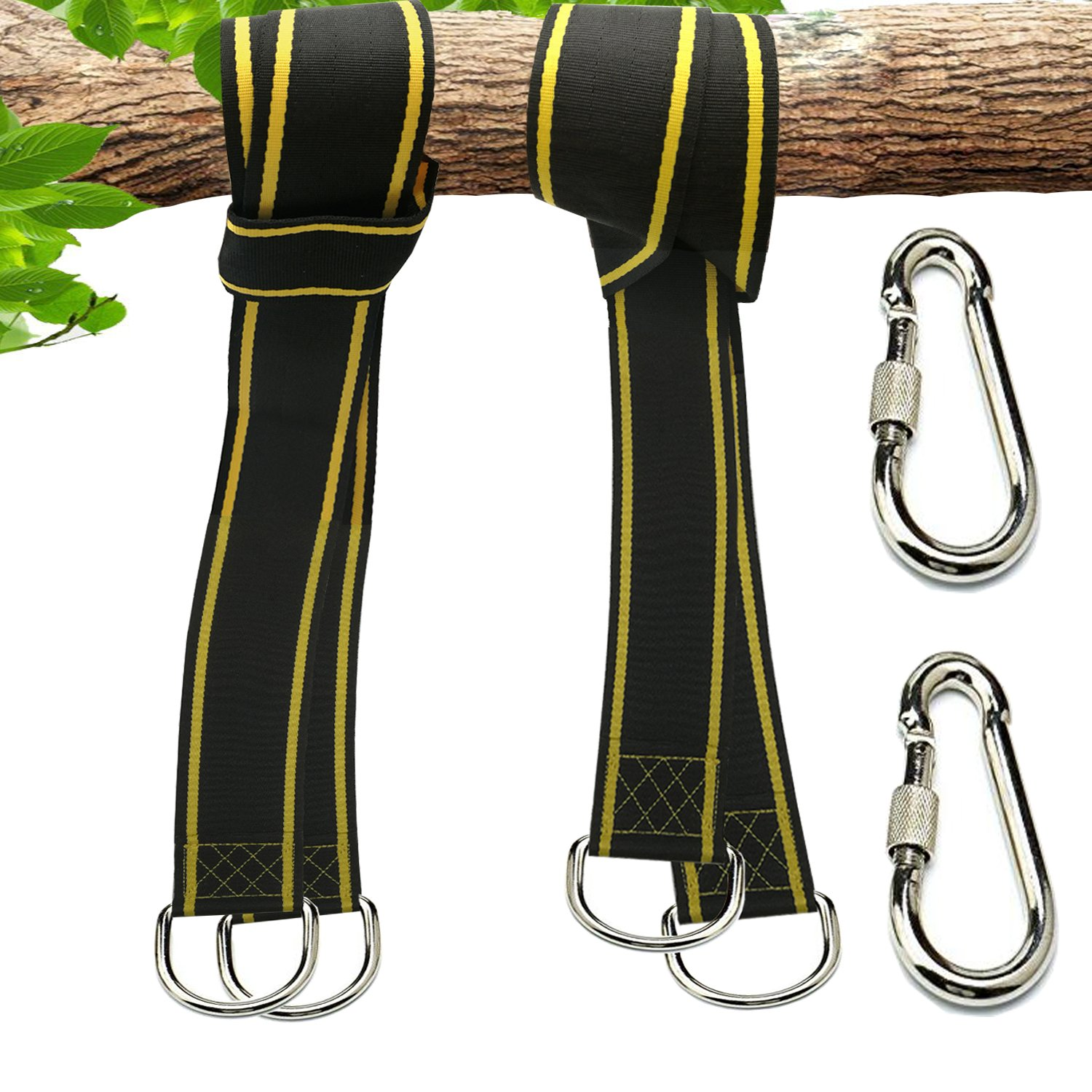 Lian-Brillian Swing Hanger/Hammock Straps Hanging set -2 10 Feet Extra Long Straps -Holds 2600Ibs-Easy to Hang Installation to Tree - Bonus with 2 Safer Lock Snap Carabiner Hooks and a Storage Bag