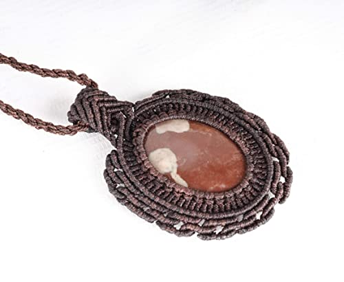 Bohemian Micro Macrame red JASPER necklace ooak boho jewelry READY to SHIP