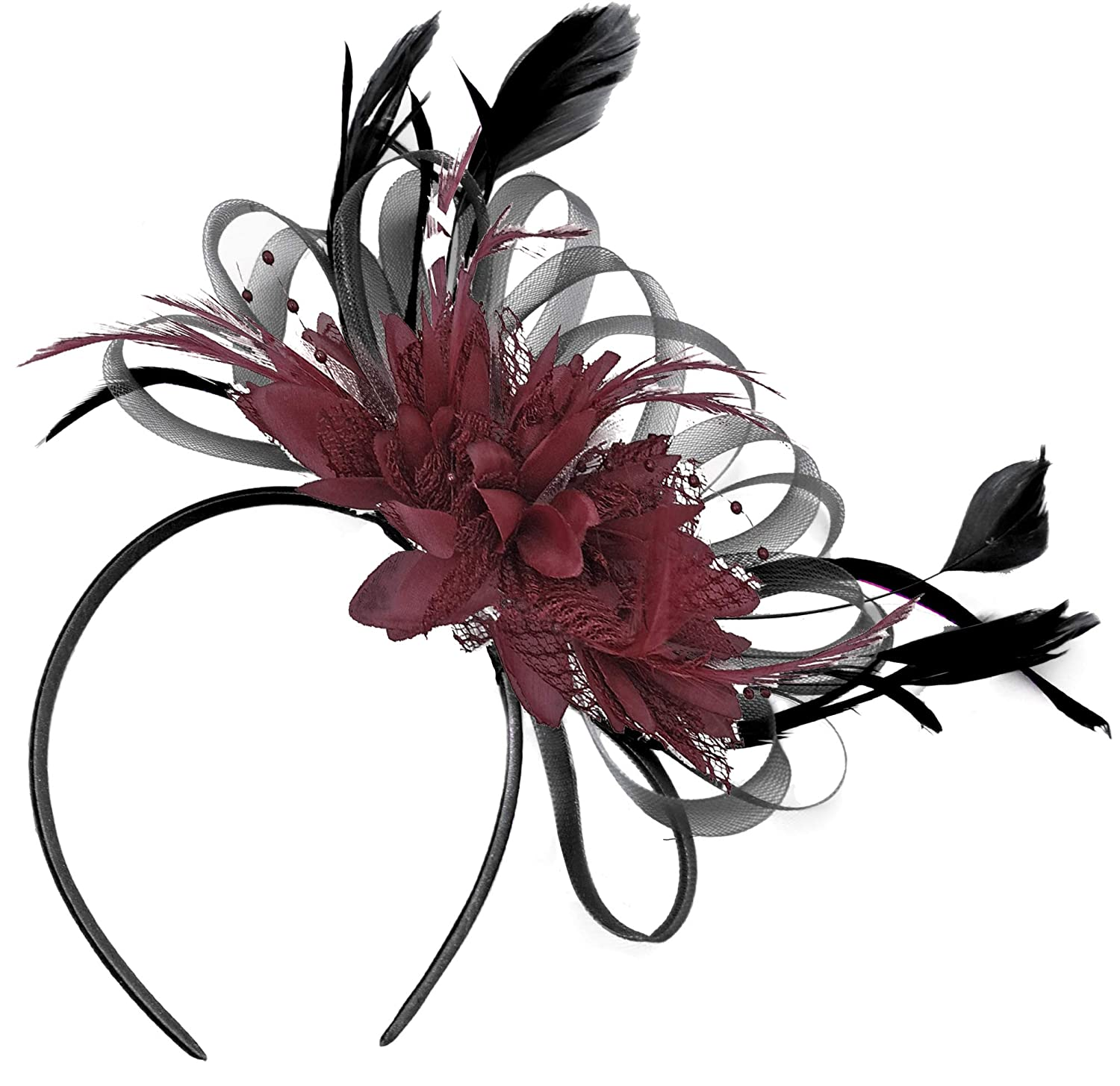 Black and Burgundy Fascinator Headband Wedding Royal Ascot Races Ladies blackburg_hoopmix