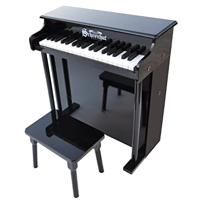 Schoenhut 6637B - 37 Key Trad/Deluxe Spinet with Bench (Black): Toys & Games