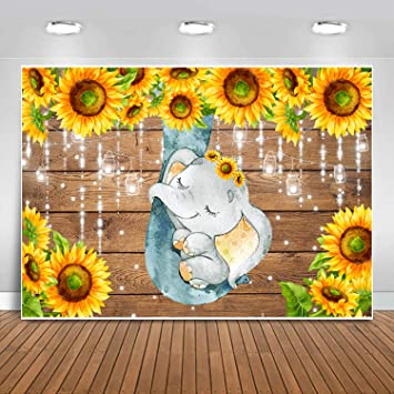 Sensfun Fabric Sunflower Elephant Baby Shower Backdrop Rustic Wood Cute Sleeping Elephant Photography Background for Baby Boy Newborn Girls 1st Birthday Party Banner Photo Booth Studio Props 10x7ft