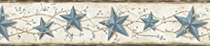 Chesapeake CTR65366B June Blue Heritage Tin Star Wallpaper Border