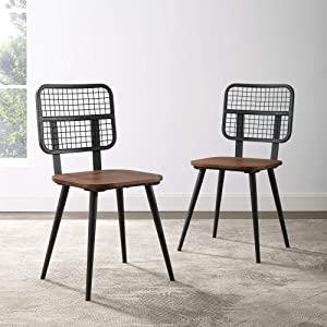 Walker Edison Furniture AZHQUIN2DW dining chairs, Set of 2, Dark Walnut