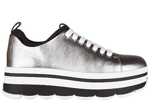 Prada Scarpe Sneakers Donna Nuove Originale Soft Argento  Amazon.it  Scarpe  e borse 5035a27c0f4