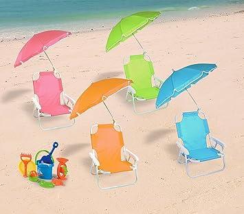 2576 Silla plegable para niños con sombrilla de protección UV - Rosa