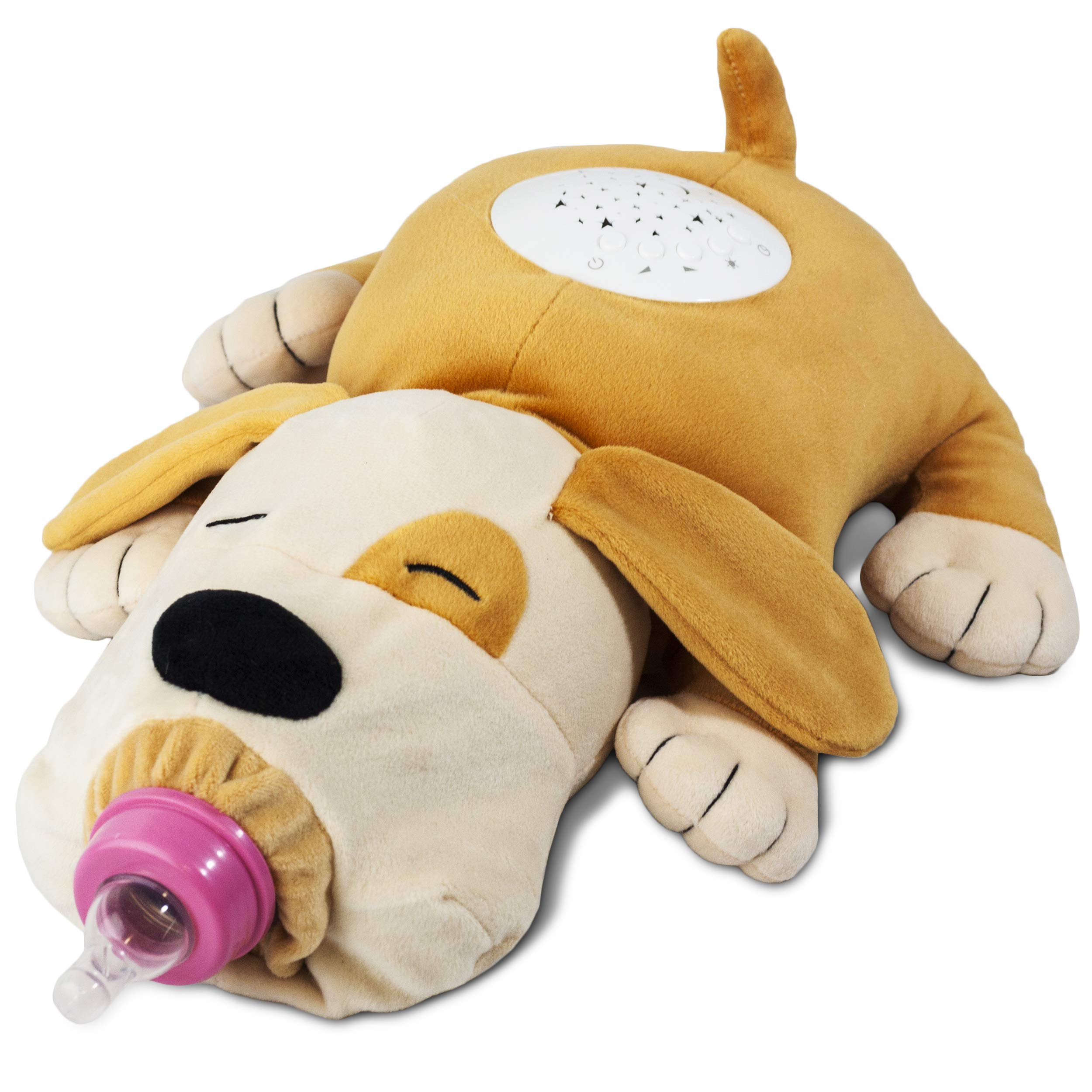 Puppy Makes Me Happy Plush Stuffed Animal toy Baby Feeder & Nursery Baby Night Light - Stimulating Pacifier Animal Crib Soother with Starlight projector Plays Music - Bottle Holder 5.6 - New SEP 2019 by A/H