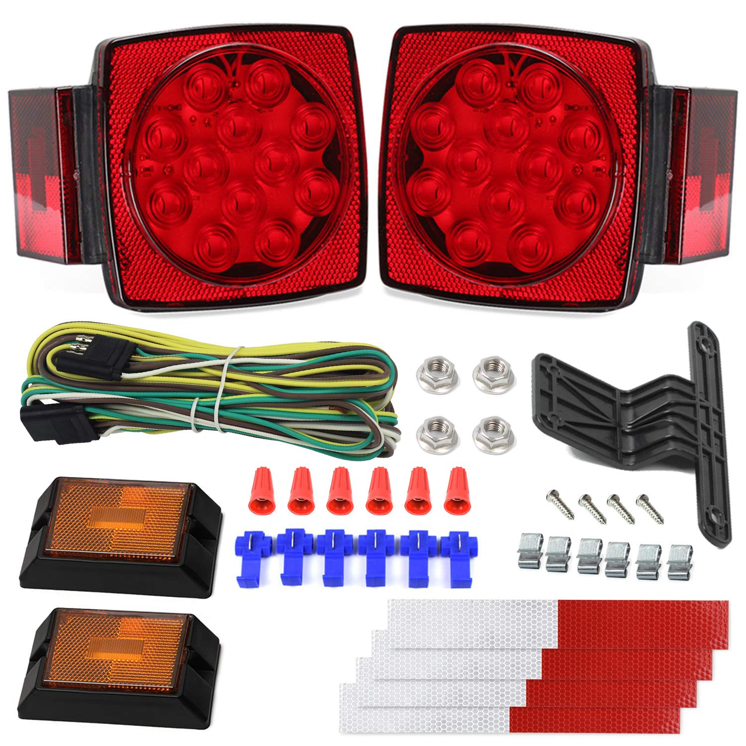 12V Trailer Light Kit DOT Certified Utility Trailer Lights for Boat RV Car Easy Assembly with Wire Harness Wafer LED 50,000H Lifespan Waterproof Durable All-in-one Tail Light Kit for Under 80 Inch DOT by Cyfie