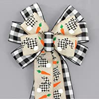 """Indoor Wreath Spring Bow Gingham Small 5-6/"""" Hand Made Blue White Check Bow"""