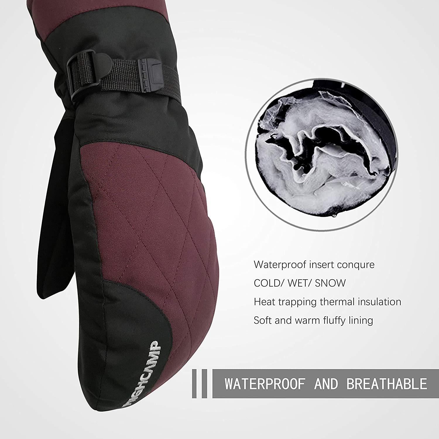 Skiing Highcamp Winter Ski Snow Mittens for Men Warm Waterproof Gloves with Drawstring for Cold Weather Snowboarding Shoveling /& More Outdoor Sports