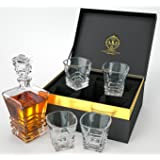 Art Deco Whiskey Decanter Set With 4 Glasses In Elegant Gift Box. Lead-Free Crystal Liquor Decanter, Dishwasher Safe For Whisky, Scotch, Bourbon Or Rum By Maketh The Man.