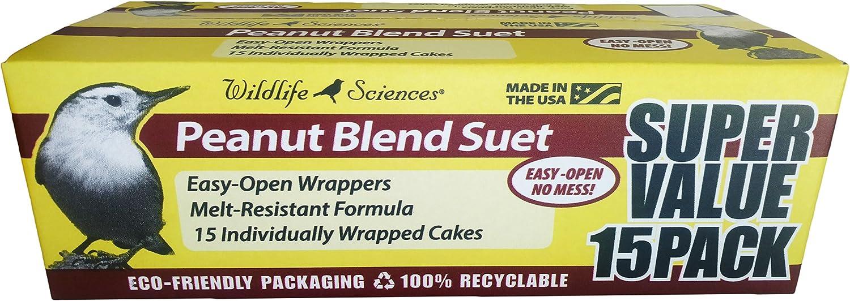 Wildlife Sciences Peanut Suet Cakes for Wild Birds 15 Pack