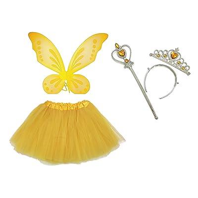 Rush Dance Ballerina Princess Fairy Dress up - Pixie Wings, Wand, Tiara & Tutu (One Size, Yellow): Clothing