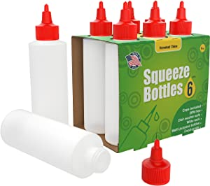 6-pack Plastic Squeeze Condiment Bottles 8-Ounce with Red Twist-Cap Set of 6 8-oz (Perfect for Syrup, Sauce, Ketchup, BBQ, Condiments, Dressing, Arts and Craft, Workshop, Storage, and More)