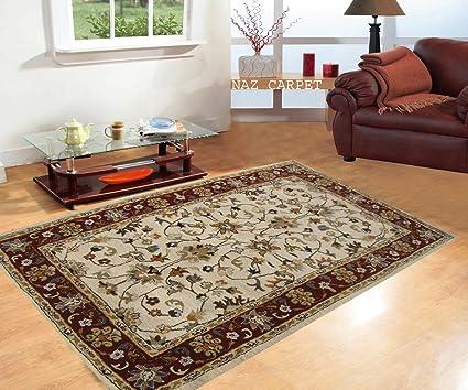 Naz Carpet For Living Room:- Handwoven Pure Woolen Carpet 150X240cms (5X8) Feet Ivory & Maroon