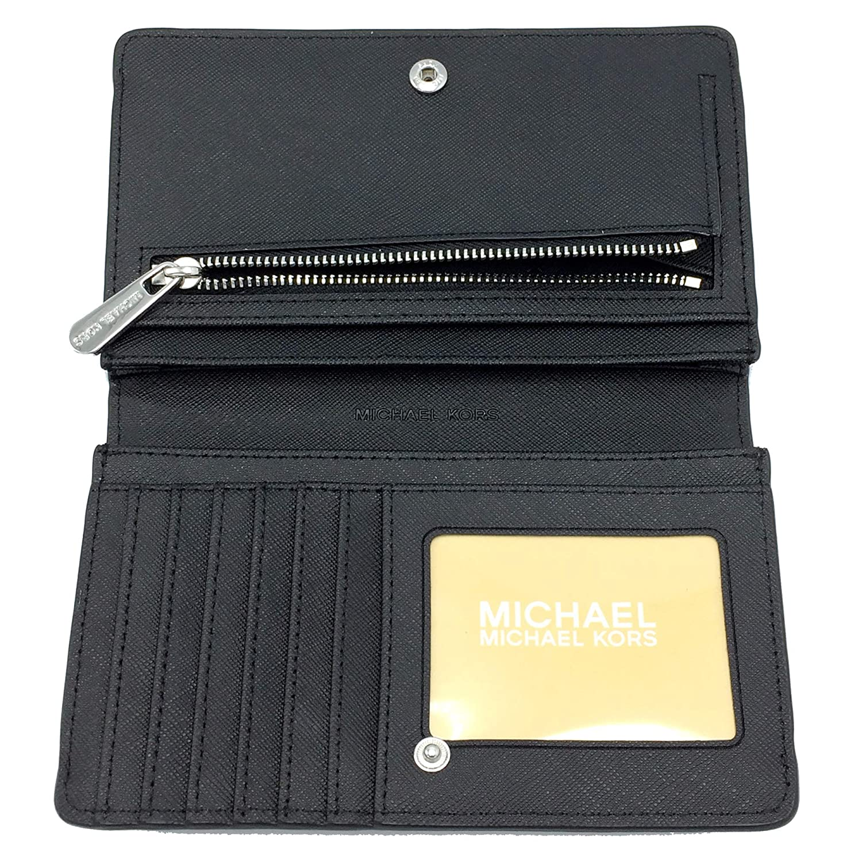 c70eed505850ac Michael Kors Jet Set Travel MK Signature Slim Bifold Wallet in Black,  Medium at Amazon Women's Clothing store: