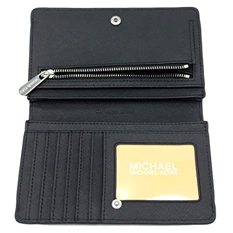 375d54d89c104e Michael Kors Jet Set Travel MK Signature Slim Bifold Wallet in Black,  Medium at Amazon Women's Clothing store: