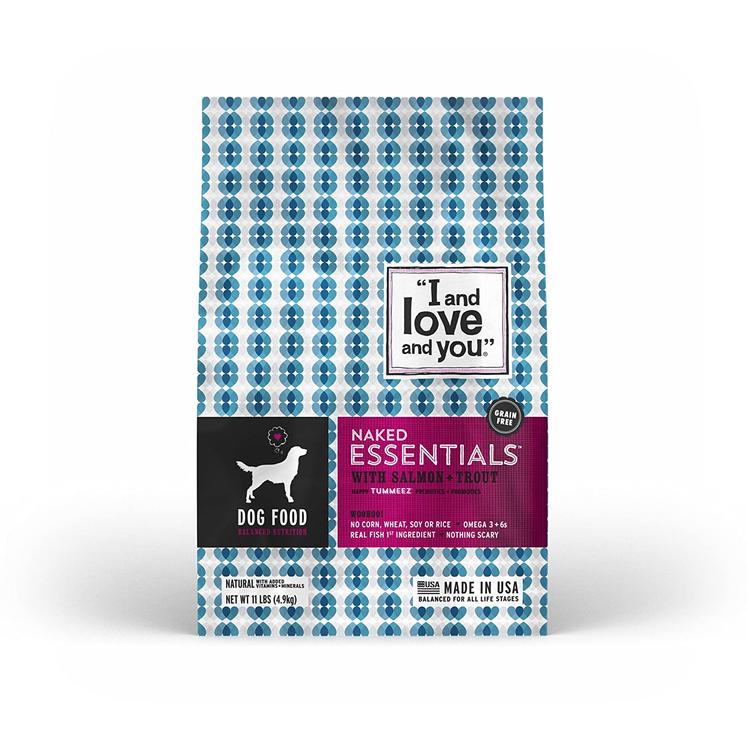 """I and love and you"" Naked Essentials Salmon & Trout Grain Free Dry Dog Food, 11 LB"