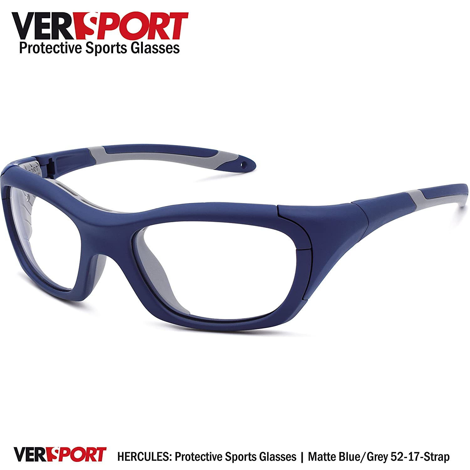 123fa3469fd Amazon.com  VERSPORT  HERCULES 52 Protective Sports Glasses - Matte  Blue Grey