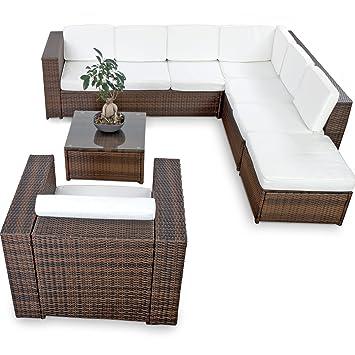 Amazonde Xinro Xxl 22tlg Polyrattan Lounge Möbel Set Gartenmöbel