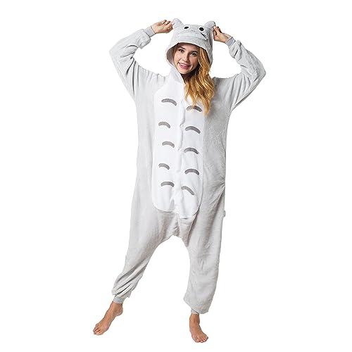 Katara 1744 - Grenouillère Combinaison pour Adultes Tenue de Nuit Pyjama Kigurumi - Taille M 155-165cm Chat Gris-Marron