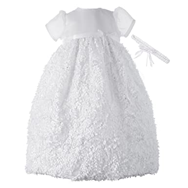 557d18fc958e9 Amazon.com: Lauren Madison baby girl Christening Baptism Newborn Floral  Design Long Dress Gown: Infant And Toddler Christening Apparel: Clothing