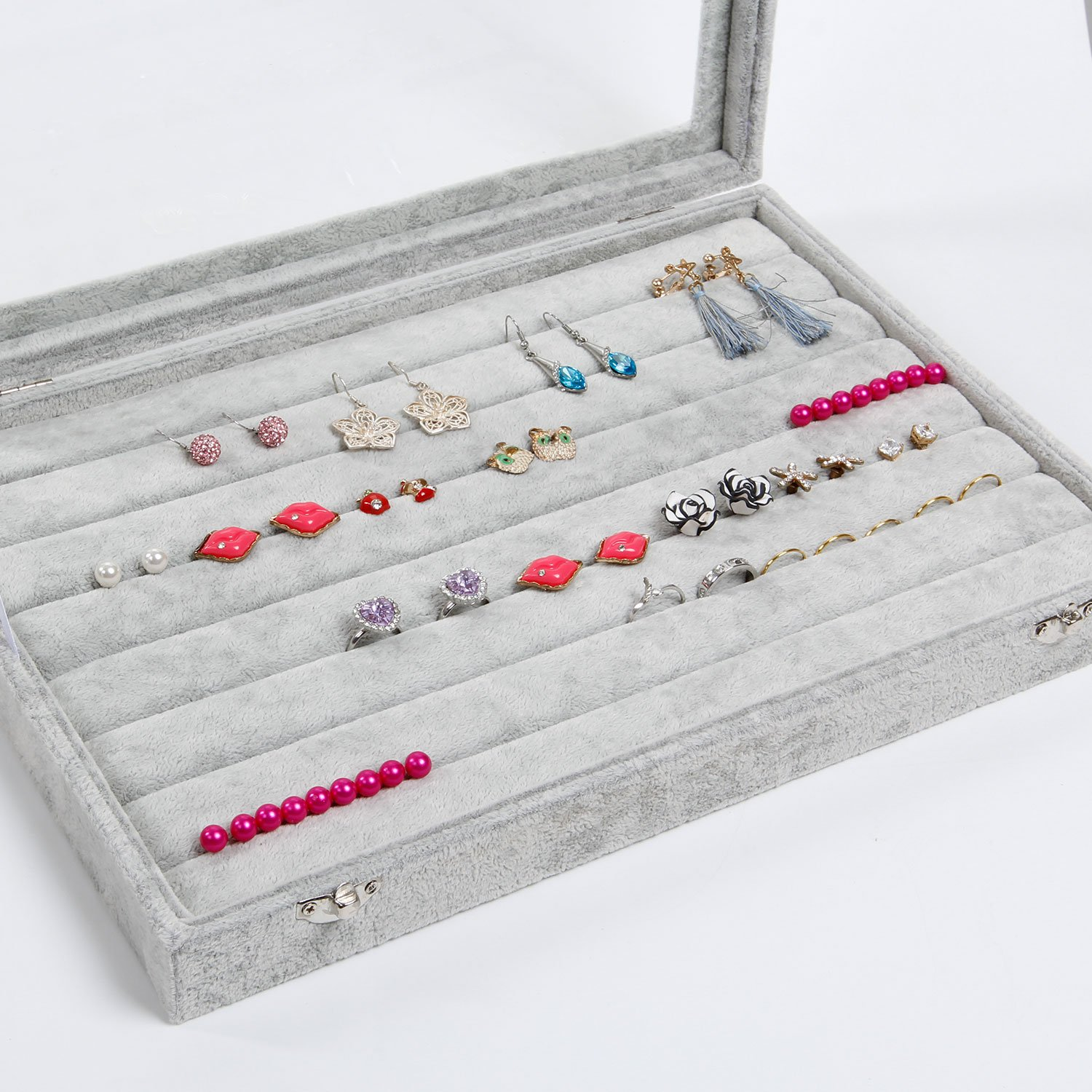 Valdler Clear Lid 7 Slots Jewelry Rings Earrings Tray Showcase Display Storage by Valdler (Image #4)