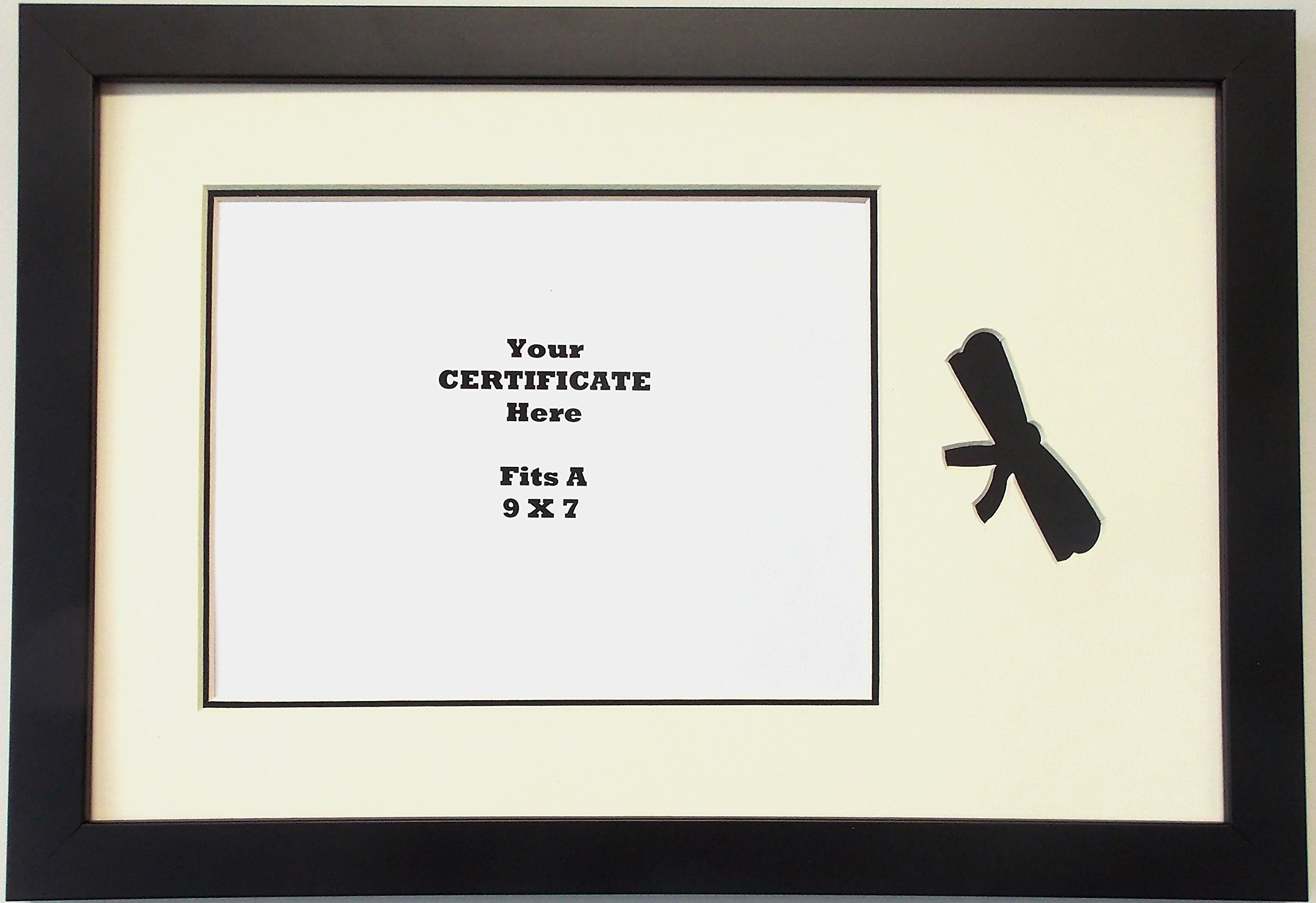 Graduation University Diploma Certificate Picture Frame Matted Holds 9x7 Certificate Black Frame