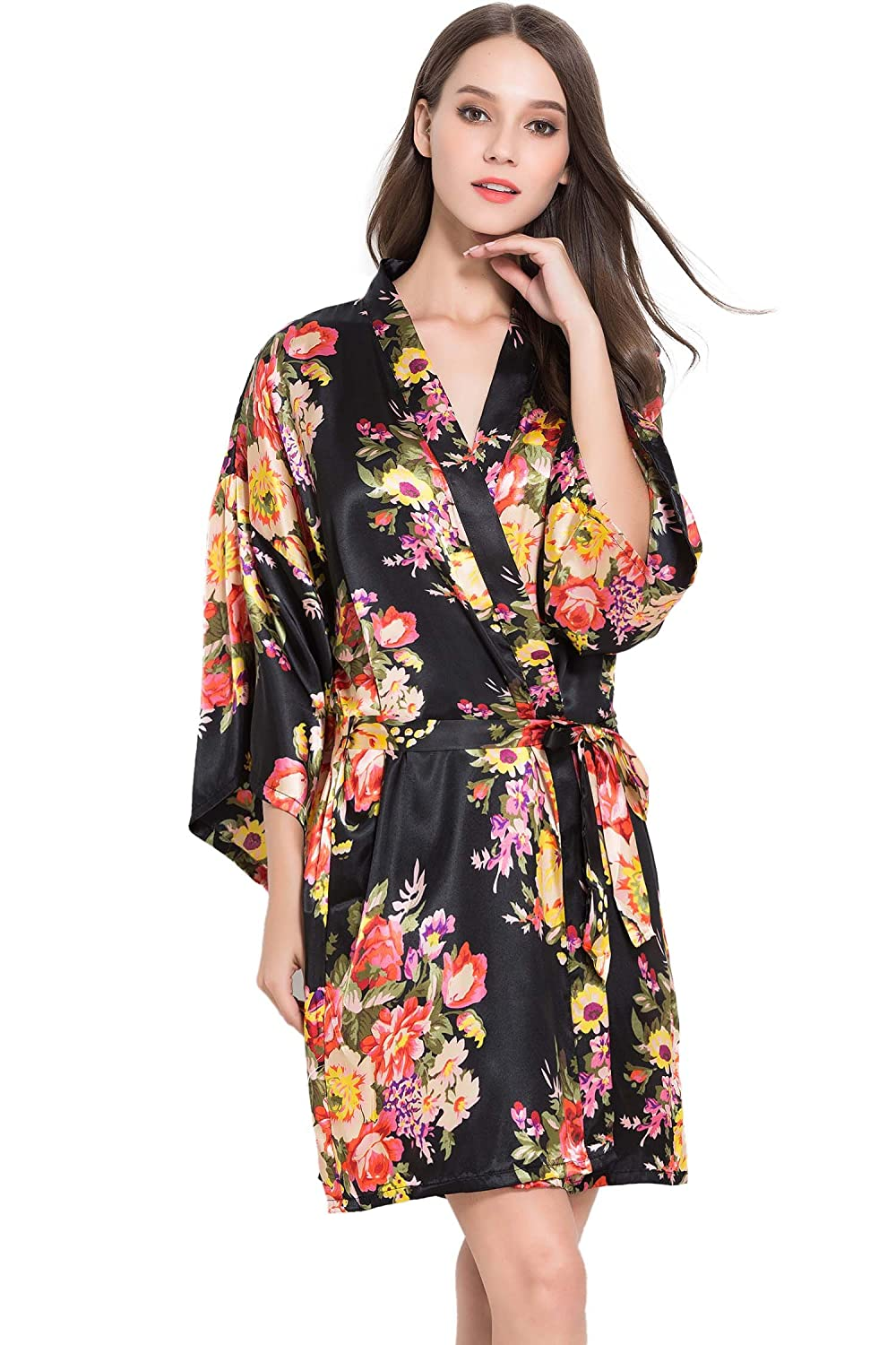 e108119450 FLORAL Black Satin Robe