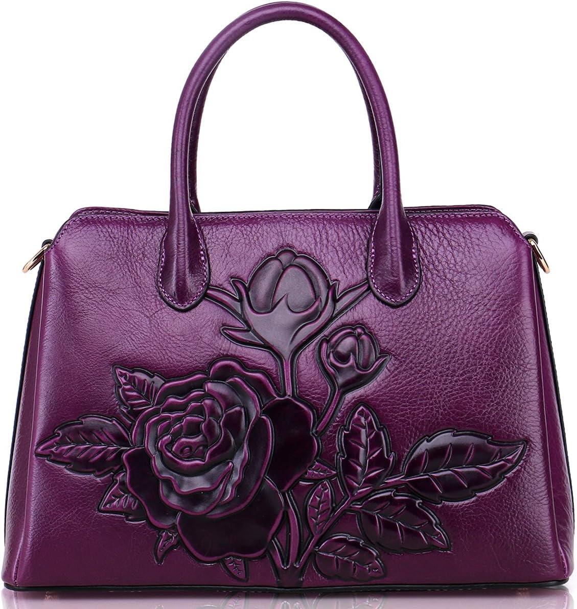 Genuine Leather Handbags for Women Designer, Ladies Vintage Classic Cowhide Leather Tote Satchel Crossbody Shoulder Bags Messenger Bag Female Bag Purple