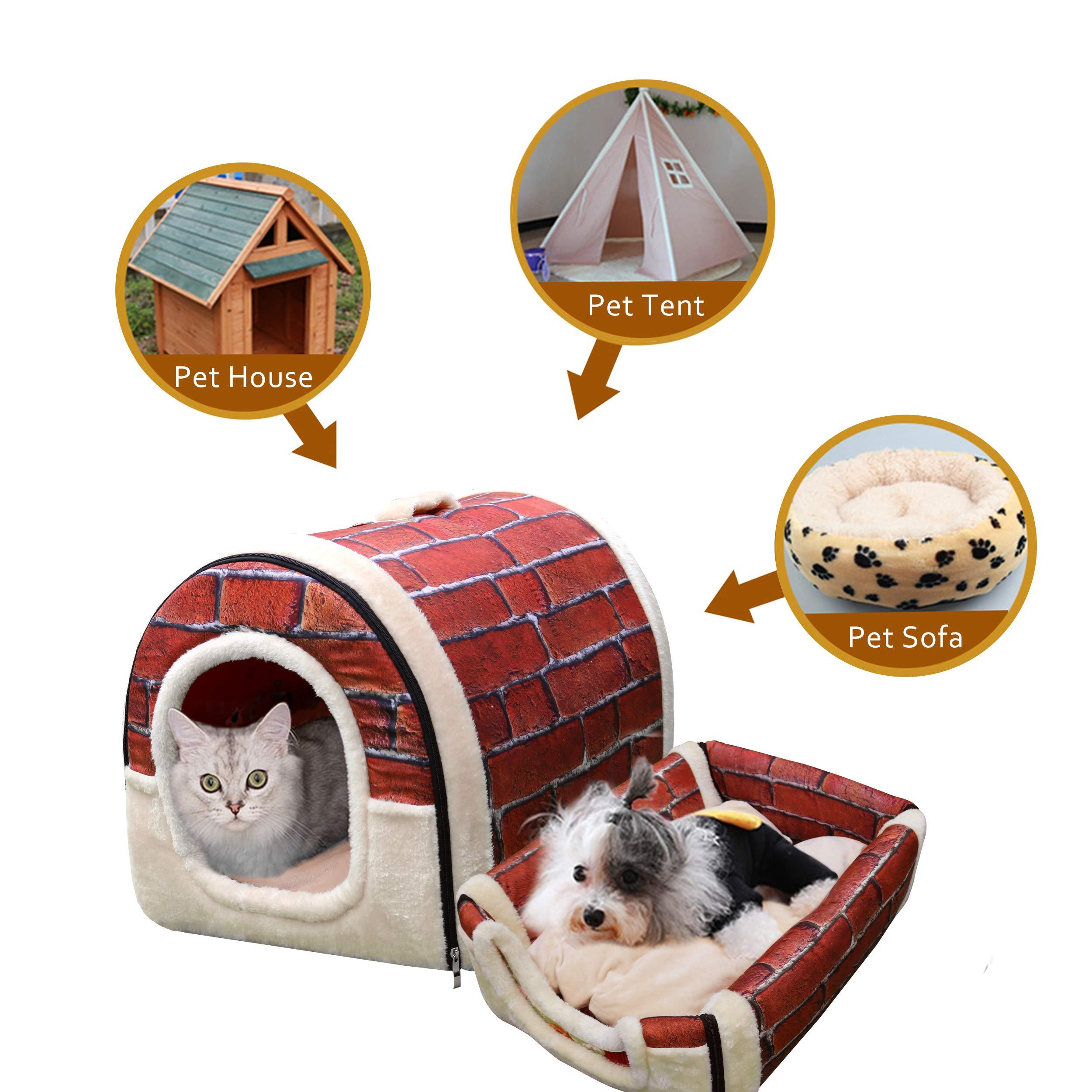 HomeofBoutique Niche/Maison Chien Chat Intérieur 2 en 1 Grand ou Petit, Lavable Pliable Portable Lit pour Moyen/Petit Chiens et Chats (L:60cmx45cmx45cm, Rouge)