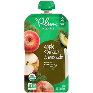 Plum Organics Stage 2, Organic Baby Food, Apple, Spinach & Avocado, 3.5 Ounce Pouch (Pack of 12) (Packaging May Vary)