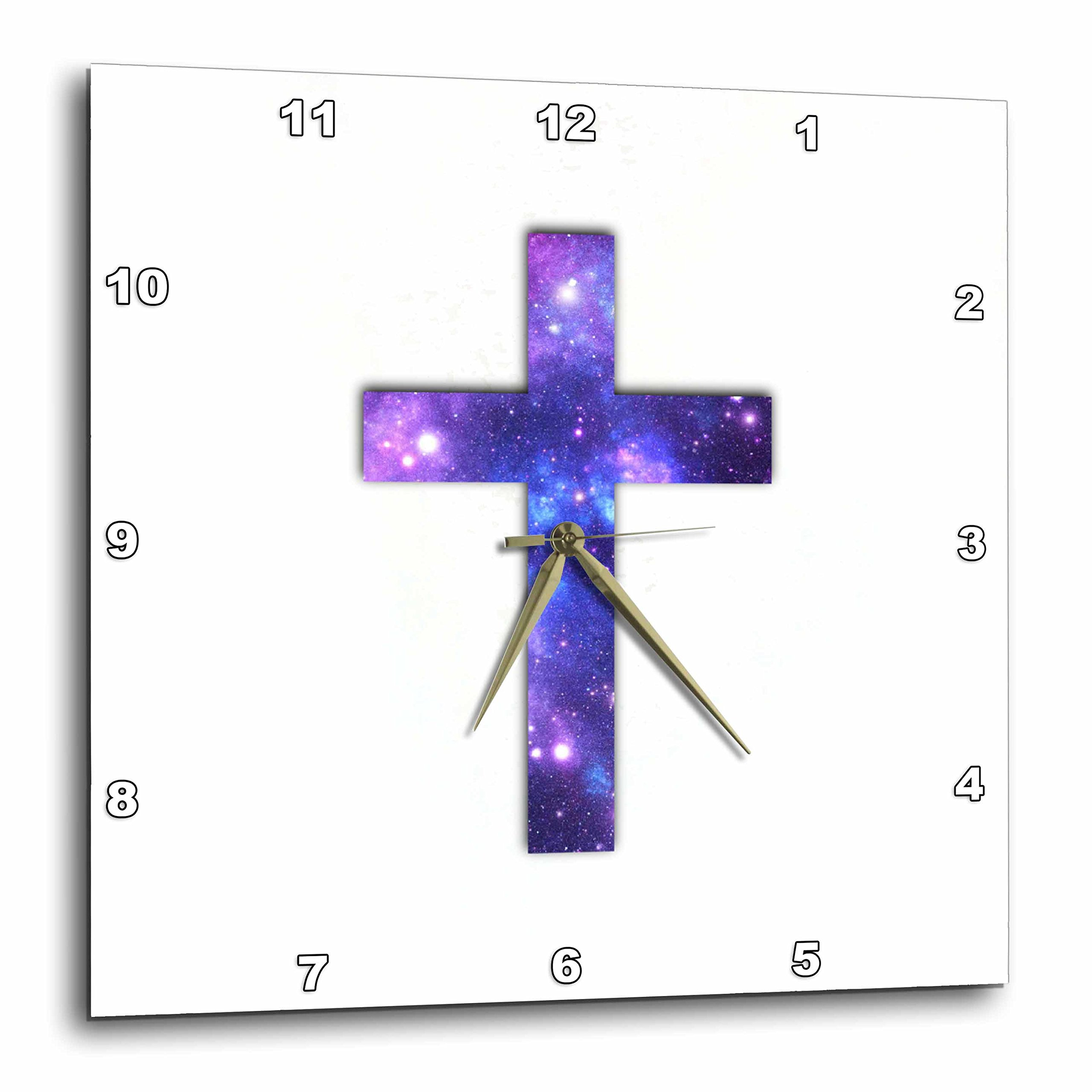 3dRose dpp_185473_1 Christian Cross with Purple and Blue Outer Space Star Galaxy Pattern Wall Clock, 10 by 10''