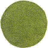 Shaggy-Teppich, Flauschiger Hochflor Wohn-Teppich, Einfarbig/Uni in Grün für Wohnzimmer, Schlafzimmmer, Kinderzimmer, Esszimmer, Größe: 120 x 120 cm Rund