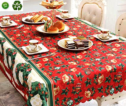 KKSHINE Christmas Tablecloth Engineered Printed Fabric Table Cloth  Thanksgiving Celebration Dinner Table Cover Light Cotton Table