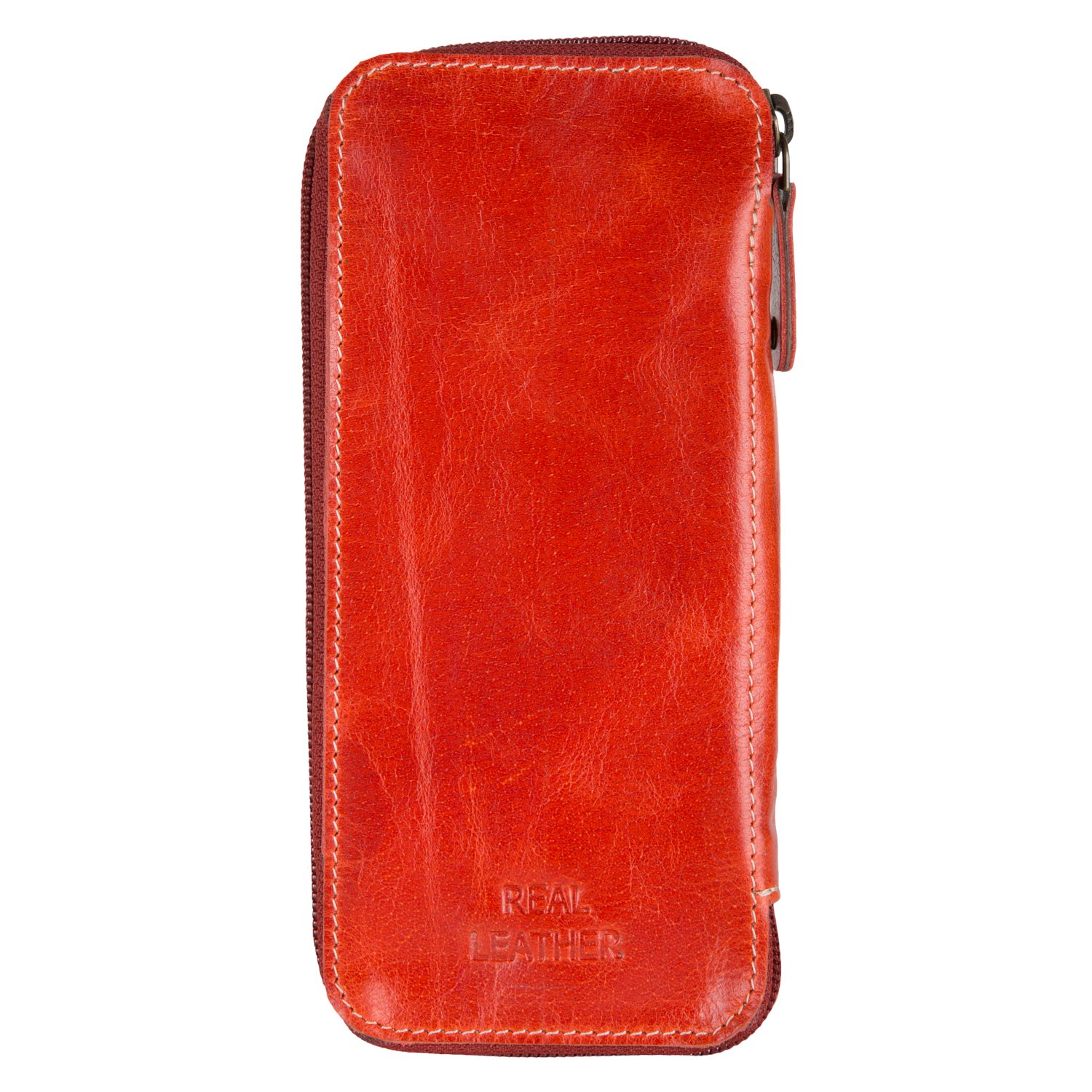 Enew Leather Zippered Pen Pencil Pouch Case Gift for Students Professionals Artists Large Compartment to Carry Art Supplies Charcoal Brush Pencil Markers Unisex Vintage Case (Red)