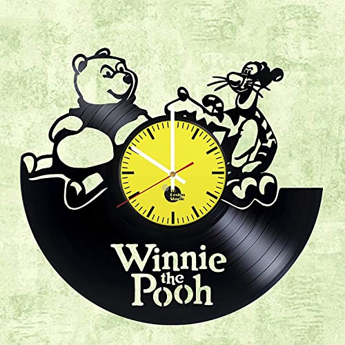 Amazon.com: Handmade Vinyl Wall Clock Winnie the Pooh Bear Vinyl ...