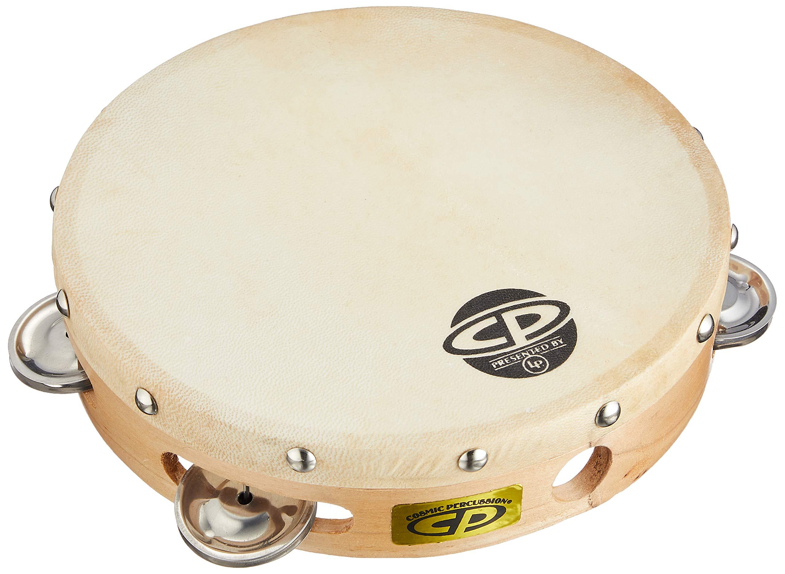 CP378 8'' Wood Tambourine, Headed, Single Row Jingles