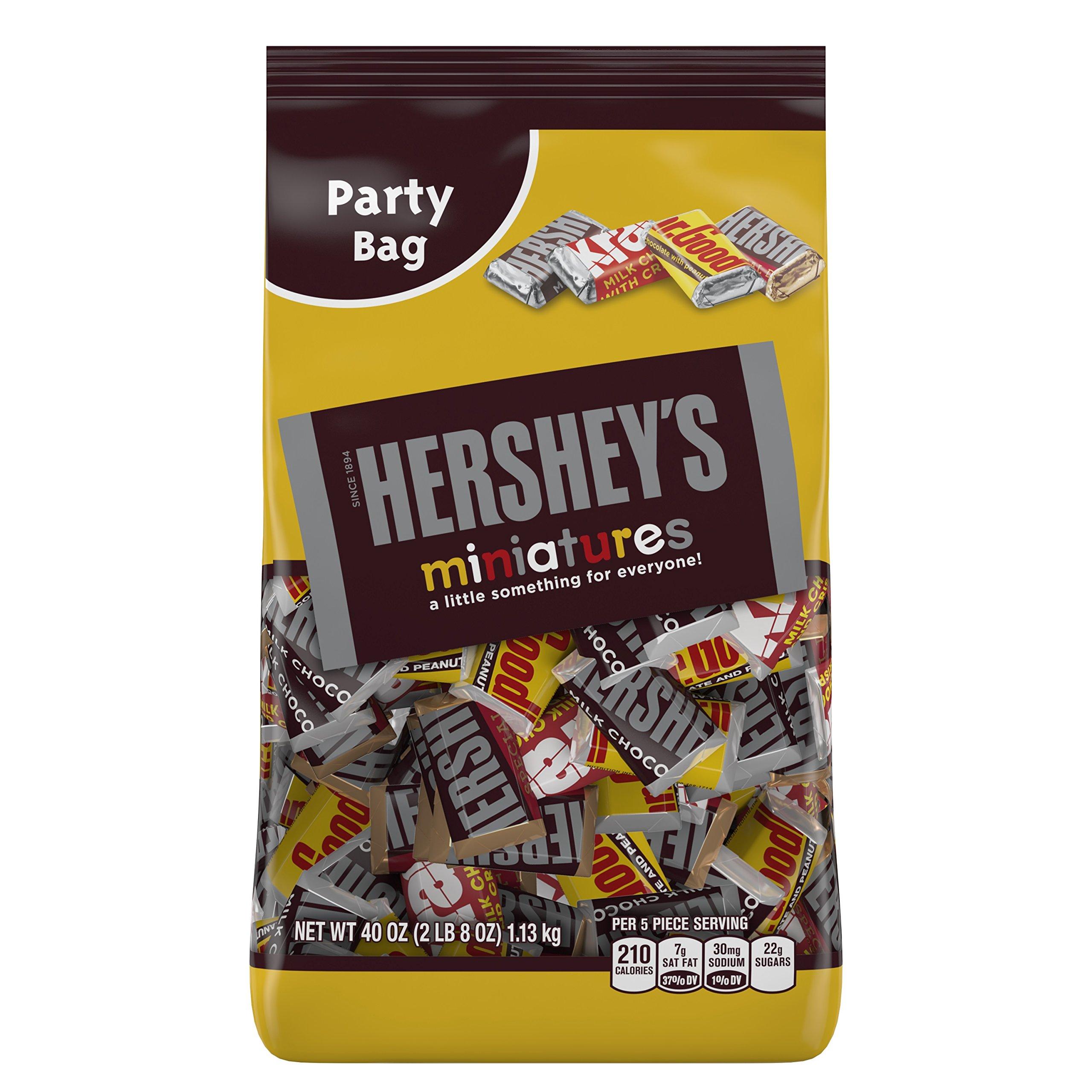 HERSHEY'S Miniatures Assortment (HERSHEY'S Milk Chocolate Bars / KRACKEL Milk Chocolate Bars / HERSHEY'S Special Dark Mildly Sweet Chocolate Bars / MR. GOODBAR Milk Chocolate Bars), 40 Ounce Bag