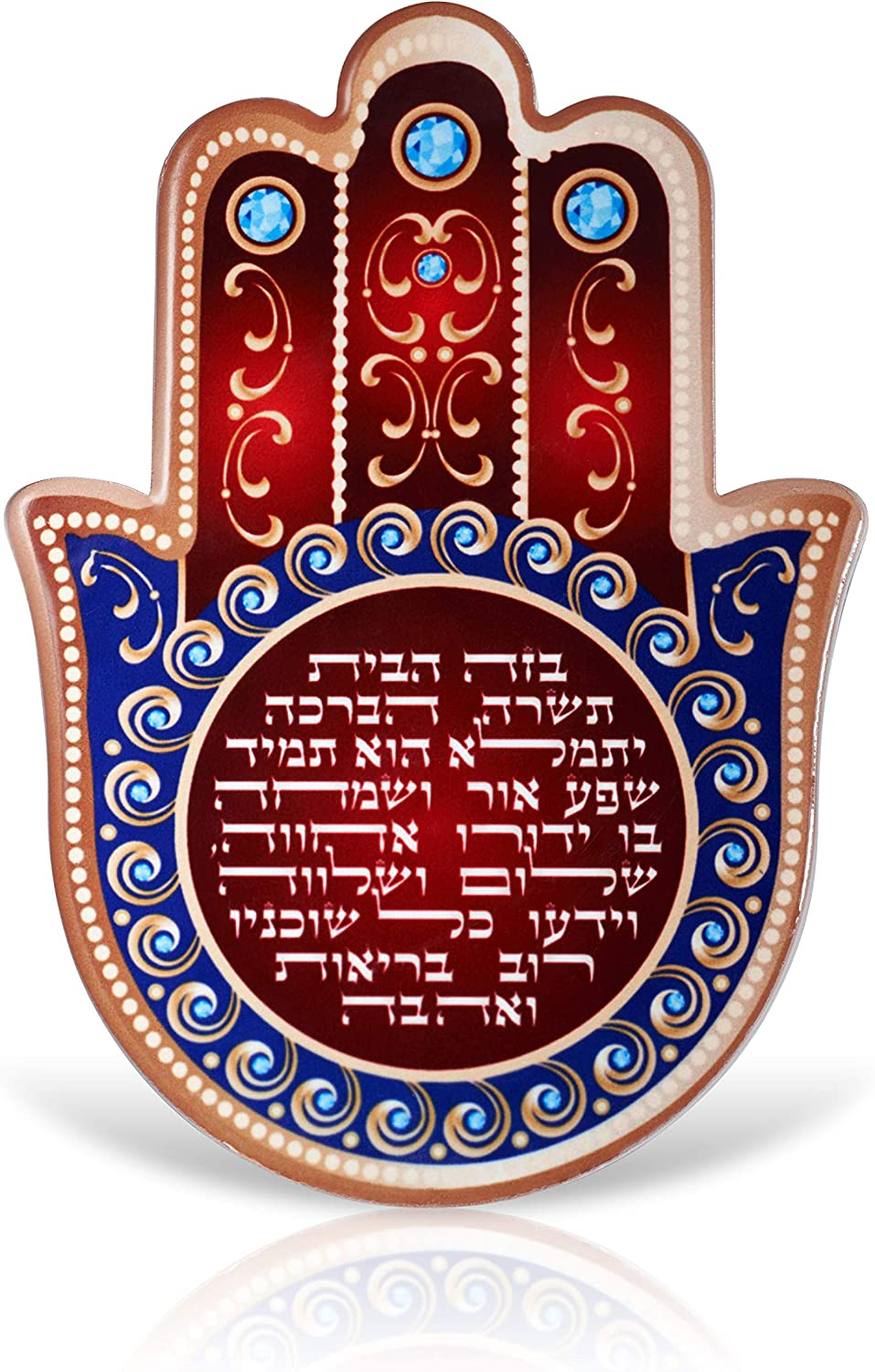 A&S Mezuzot Hamsa Wall Decor Red/Blue Evil Eye Charm Protection Amulet Home/Business Good Luck Charms in English/Hebrew Blessings (Red/Blue, Hebrew Blessing)