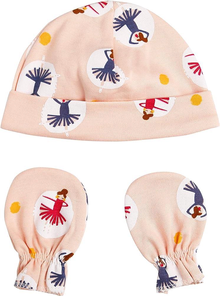 Juego de gorro y manoplas para recién nacido, 100% algodón, varios colores y estampados: Amazon.es: Ropa y accesorios