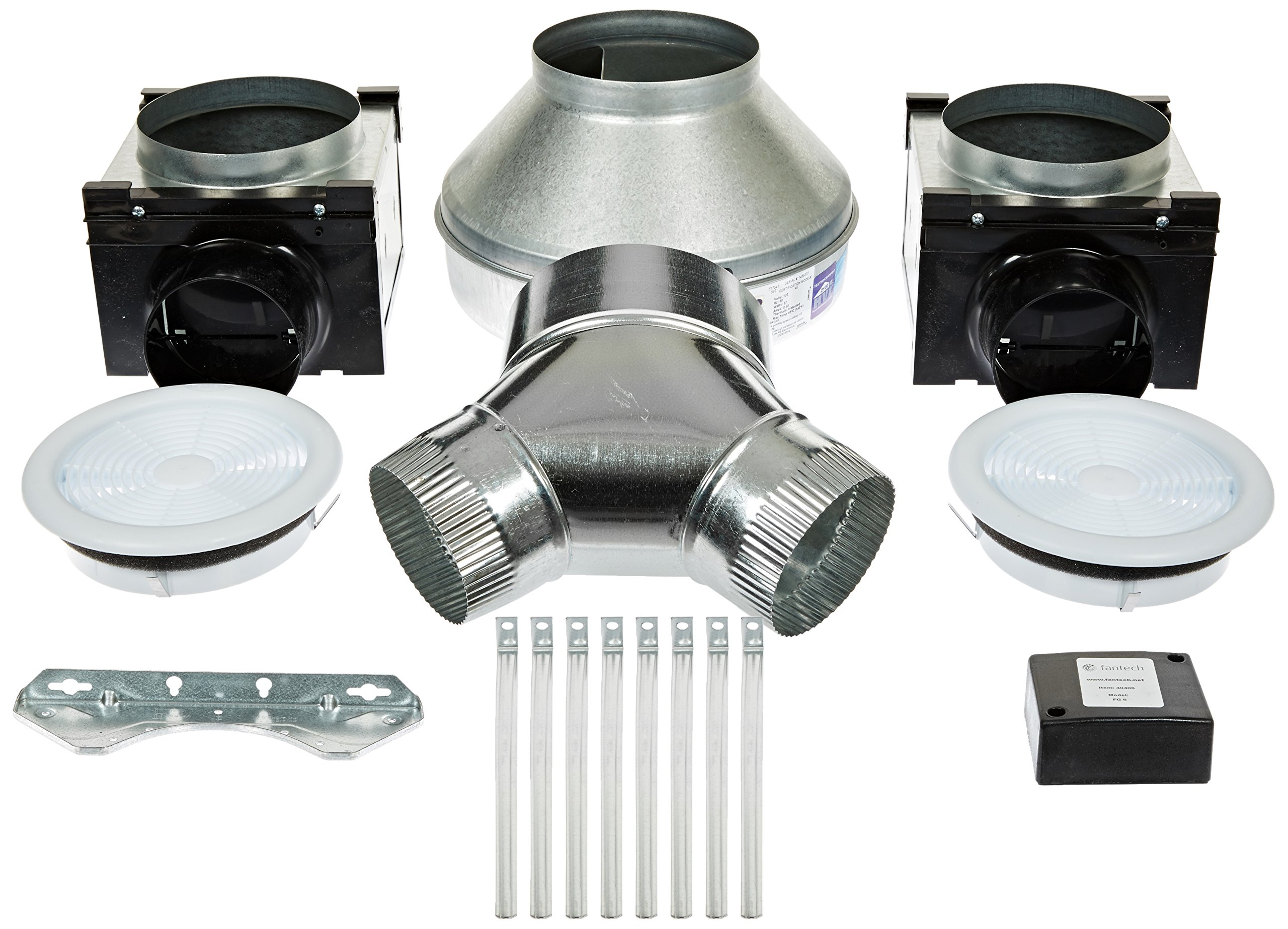 Fantech PB190 Series Small 7'' Grille Width 12, Height 11, Depth 23, USA, Inline Bath Fan Kit, Low Noise (Low Sone), 190 CFM, Remote mount fan, Small 7'' Grille