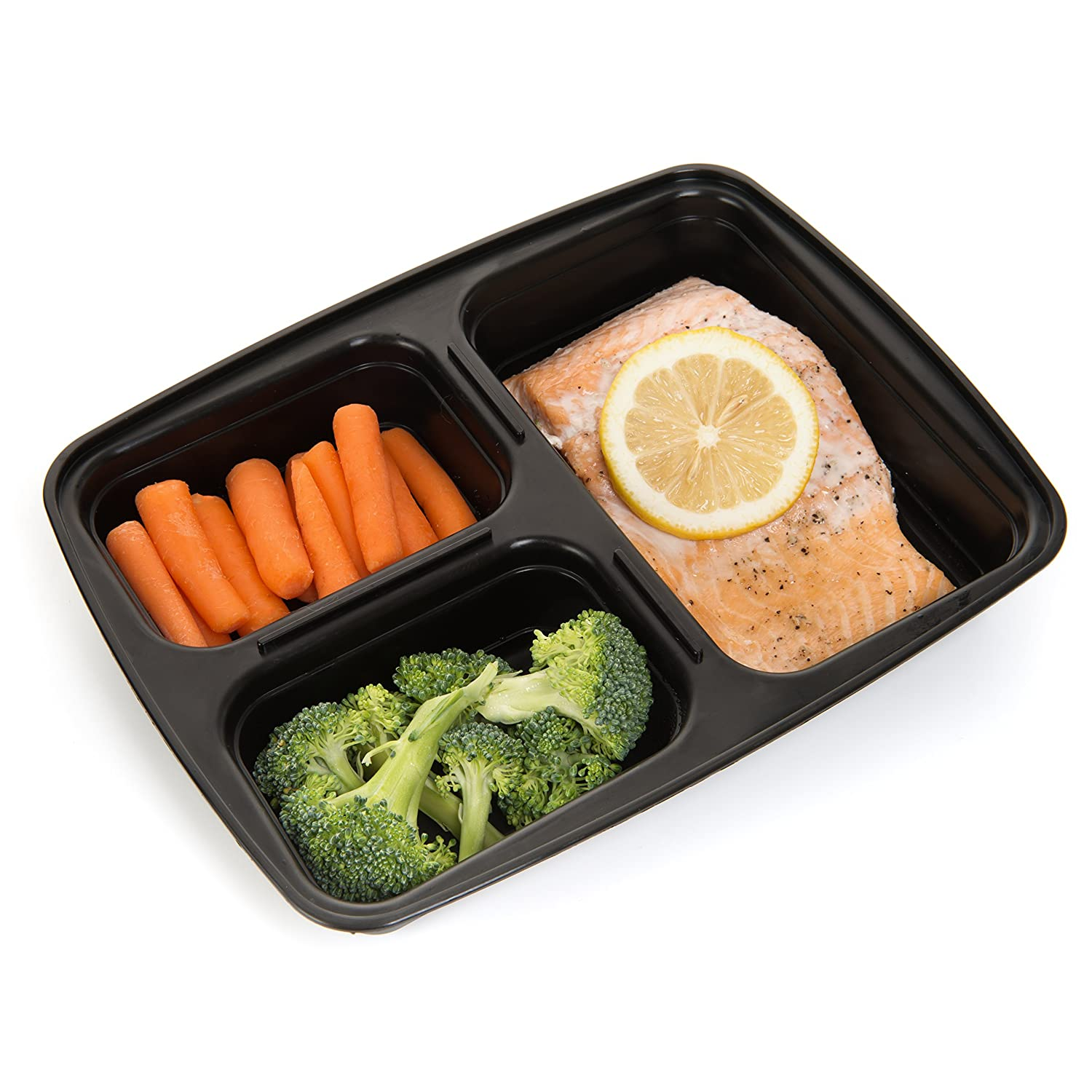 Amazon.com: Meal Prep Haven 3 Compartment Food Containers with ...