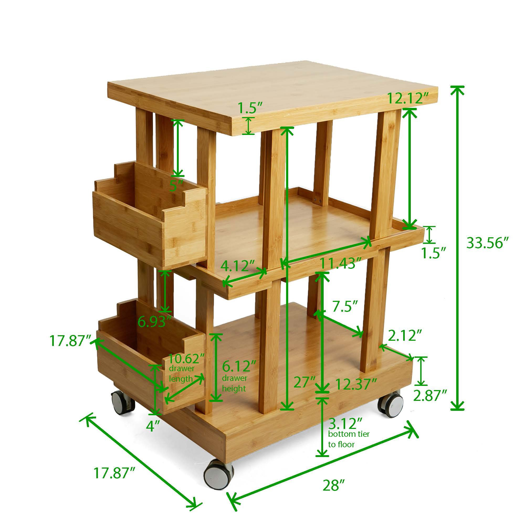 Mind Reader 3-Tier Kitchen Utility Cart with 2 Storage Compartments, Bamboo Wood, Brown by Mind Reader (Image #5)