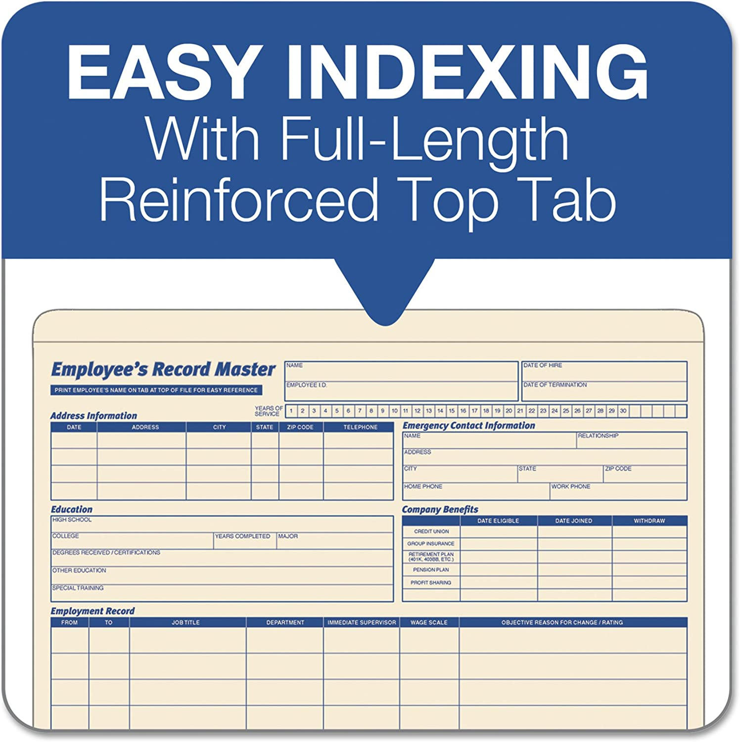 TOPS Employee Record Master File Jacket 9 1//2 x 11 3//4 10 Point Manila 20//Pack