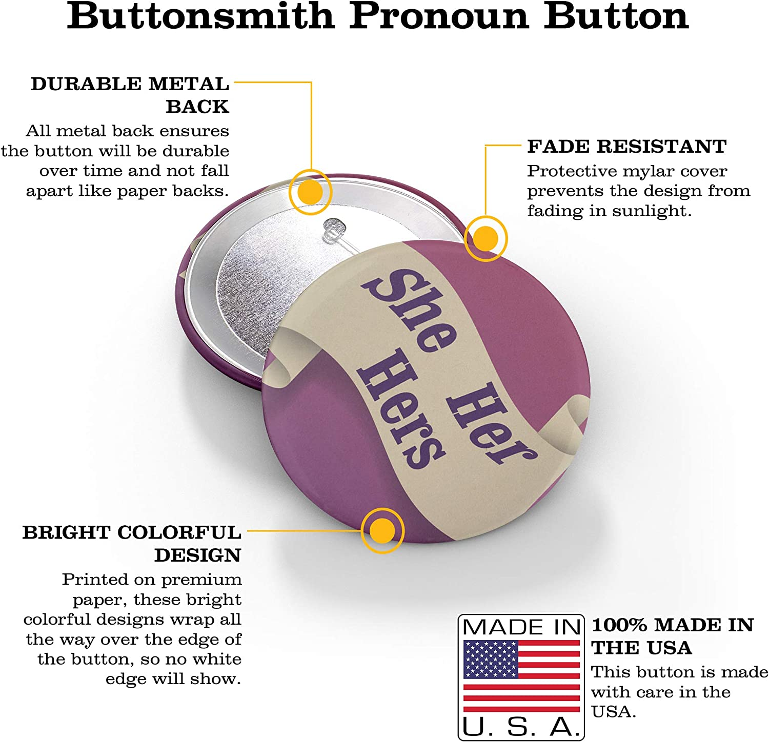 She Union Printed and Union Made He Set of 12 Buttons Made in the USA They Buttonsmith Pronoun Pinback Button